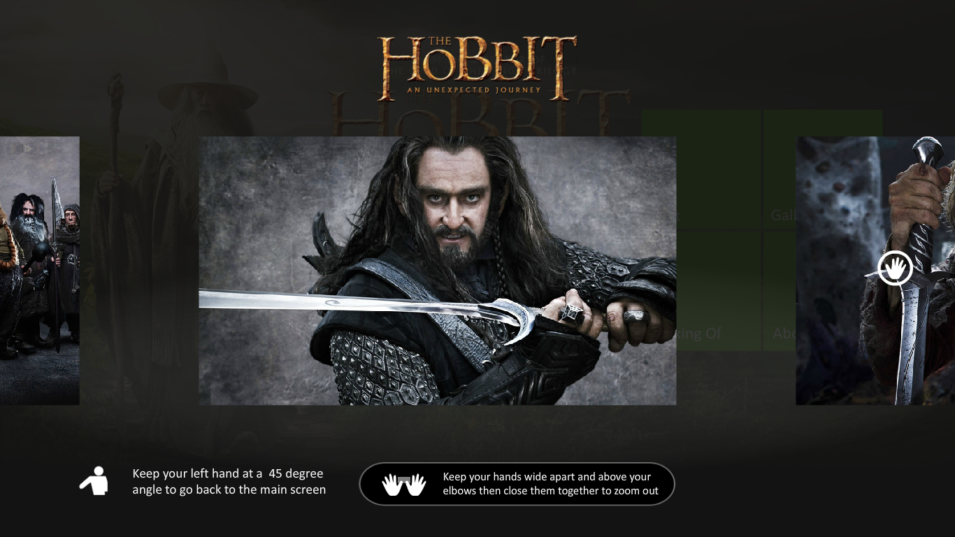 The Hobbit - Screenshot from Brainient Kinect Interactive Ad